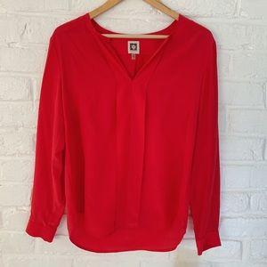 NWT Anne Klein Vibrant Red Silk Blouse
